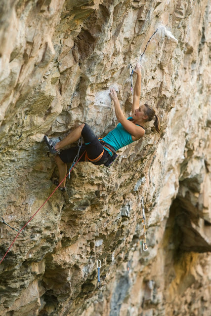 Jen Vennon on Huge, 5.13d at Rifle.
